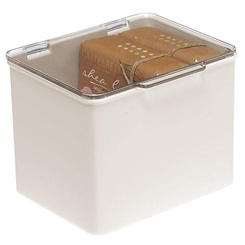 mDesign Stackable Plastic Storage Bin Box with Hinged Lid - Organizer for Vitamins, Supplements, Essential Oils, Medicine Pill Bottles, Bandages, First Aid Supplies - Cream/Clear