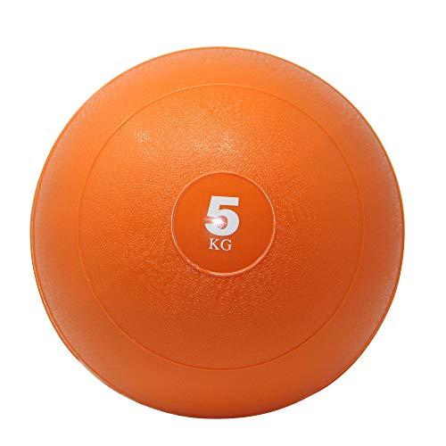 POWRX Slam Ball Balón Medicinal 5 kg - Ideal para Ejercicios de »Functional Fitness«, fortalecimiento y tonificación Muscular - Contenido de Arena y Efecto Anti-Rebote + PDF Workout (Naranja)
