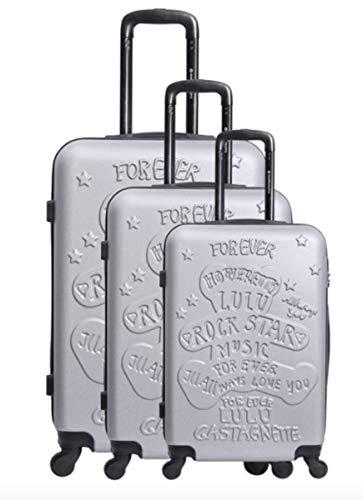 Lulu Castagnette - Juego de 3 maletas de viaje (ABS sólidos, ligeras, 4 ruedas con cerradura integrada (55cm, equipaje de cabina + 66 cm + 75 cm)