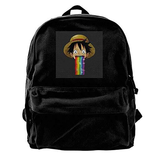 Canvas Rucksack One Piece Monkey D Ruffy Kotzen Regenbogen Snapchat Filter Rucksack Gym Wandern Laptop Umhängetasche Daypack für Männer Frauen