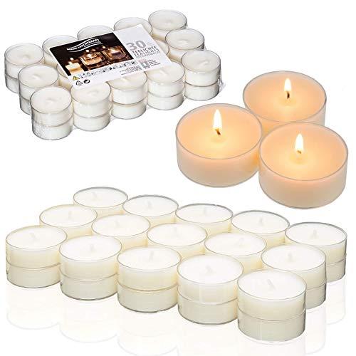 Smart Planet® Kerzen Ambiente - 30er Set Flatpack Teelichter in Weiss - Teelicht in transparenter Hülle - Kerze mit Langer Brenndauer