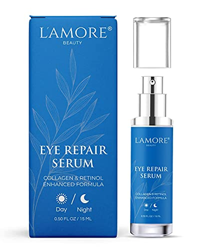Eye Repair Serum,15 ml - Anti Aging Eye Cream with Retinol and Hyaluronic Acid, Daily Anti Wrinkle Collagen Eye Gel, Under Eye Bag Treatment, Puffiness, Dark Circles, - Made In USA by L'amore Beauty