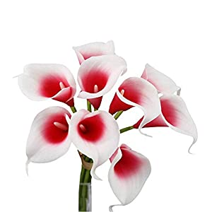 Angel Isabella, LLC Lifelike Artificial Flowers Real Touch Calla Lily Bouquet Bundle 10 Stems (Picasso Red)