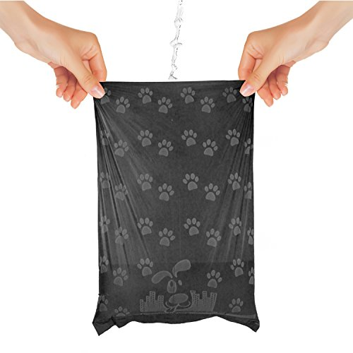 Downtown Pet Supply Dog Pet Waste Poop Bags with 2 Leash Clips and Dispensers (1000 Bags, Rainbow with Paw Prints)