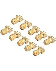 10 Piezas de Latón SMA Hembra Base Jack Hembra Montaje en PCB Conectores de 50 Ohmios RF, Conector SMA para Dispositivos Inalámbricos, Equipos y Sistema de Transmisión a Tierra