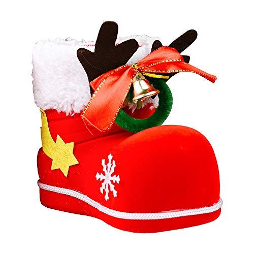 Antler Bell Flocado Botas Botas De Coca-cola Roja Botas De Caramelo Zapatos Pequeños Regalo De Adorno 10 * 12cm Botas flocadas con campana de asta