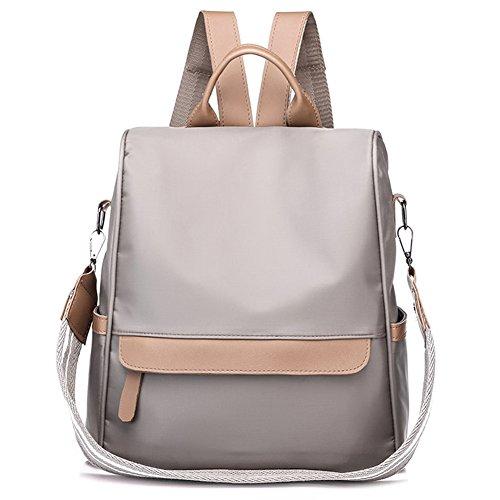Damenmode Nylon Anti-Diebstahl-Rucksack Wasserdichte Rucksäcke Umhängetaschen Handtaschen Satchel Daypack B Grau