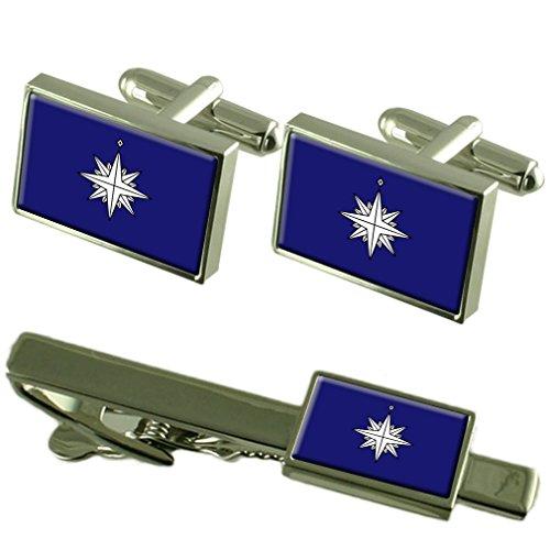 Select Gifts Der Stern der japanischen Küstenwache Manschettenknöpfe Schachtel Geschenk Set passende Krawatte Clip 55mm