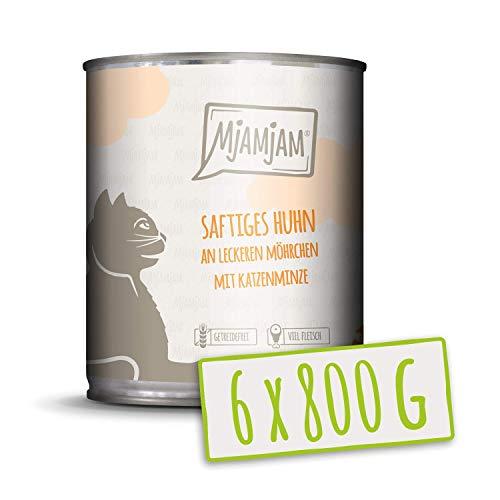 MjAMjAM - Pienso acuoso para Gatos - Jugoso Pollo con deliciosas Zanahorias y Menta gatuna - Sin Cereales - 6 x 800 g