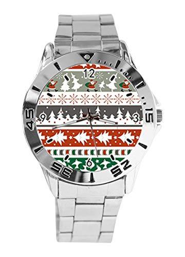 Armbanduhr, Design Weihnachtsbaum und Weihnachtsmann, analoges Design, Quarzuhrwerk, silberfarbenes Zifferblatt, klassisches Edelstahl-Band für Damen und Herren