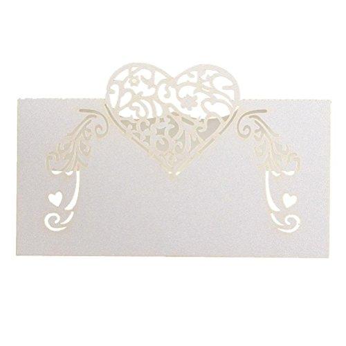 SUPVOX 50pcs Carte Porte Nom Marque Place Mariage Coeur Creux Décoration de Table Mariage Anniversaire Découpé Coeur Blanc