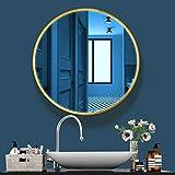 LITZEE Espejos de Pared Redondo 60cm con Marco de Metal Dorado para Baño Salón Dormitorio