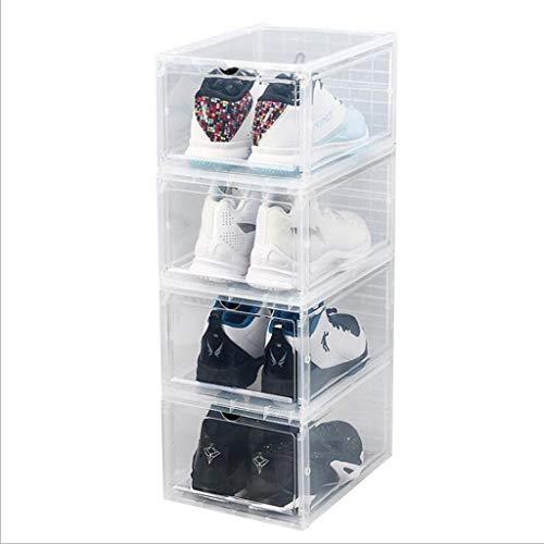 XTXY Juego De 4 Cajas De Zapatos Apilables PP Organizador De Zapatos De Plástico Caja De Zapatos Transparente 34 * 25 * 18 Cm DIY Fácil Montaje Negro/Blanco Transparente (Color : Transparent)