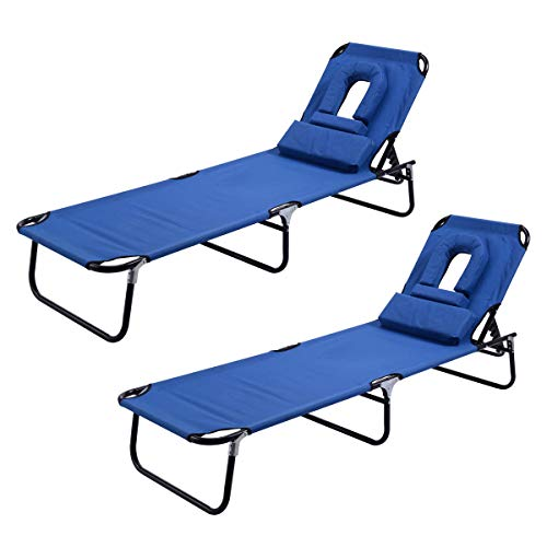 Goplus Folding Chaise Lounge Chair 2PC, Adjustable Back Outdoor Beach Pool w/Tanning Face Down Hole (Blue 2pcs)