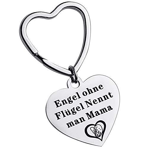 TOYALOR Herzform Schlüsselanhänger mit Gravur Engel Ohne Flügel, Nennt Man Mama - für Geburtstagsgeschenk der Mutter - Muttertagsgeschenk, Thanksgiving-Geschenk oder als Geschenk zu Weihnachten