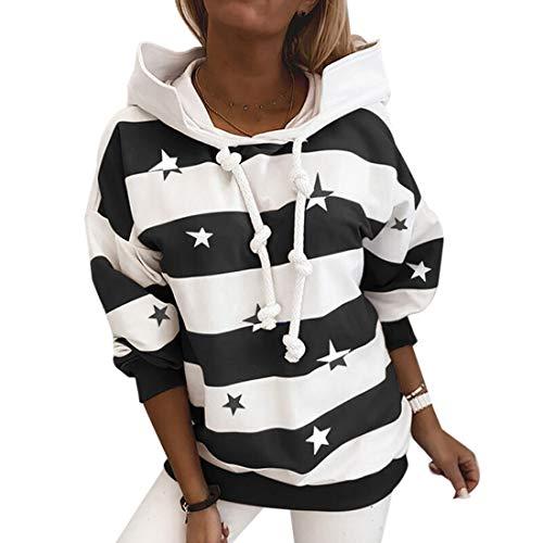 Tabimono - Sudadera con cordón para mujer, diseño de pentagrama con capucha, manga larga, para deportes al aire libre, camiseta informal (#2,L)