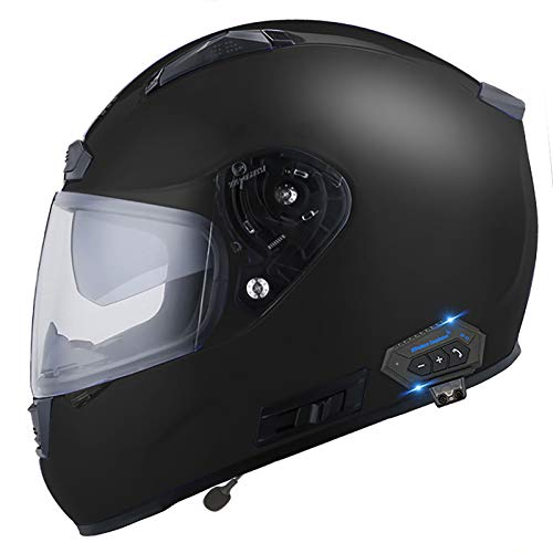 JJIIEE Modularer Bluetooth-Motorradhelm, DOT/ECE-Zertifizierung Anti-Fog-Doppelvisier-Motocross-Helme, abnehmbares Futter Aerodynamisches Design für Unisex,A,L