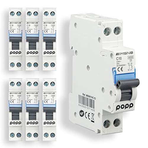 POPP Interruptor Automático Magnetotérmico estrecho serie DPN MSN8 gama Doméstica CURVA C corte 4500A DPN 6A,10A,16A,20A,25A,32A,40A Pack 6,12 (10A, Pack 6)
