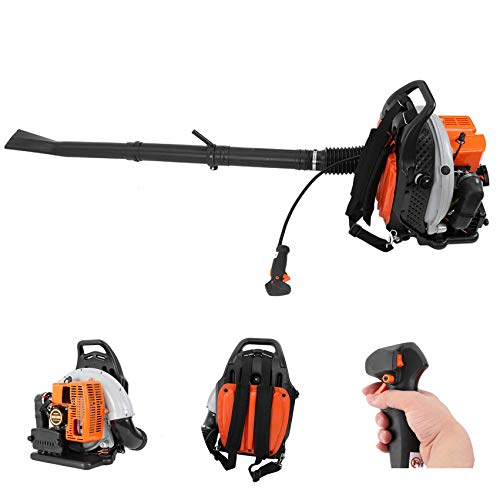 Backpack Leaf Blower Gas Powered Cordless Leaf Blower 63CC 2-Cycle Engine Gasoline Blower 665CFM 196MPH Sweeper with Nozzle Extension for Lawn Care, Leaves Snow Dust Removal