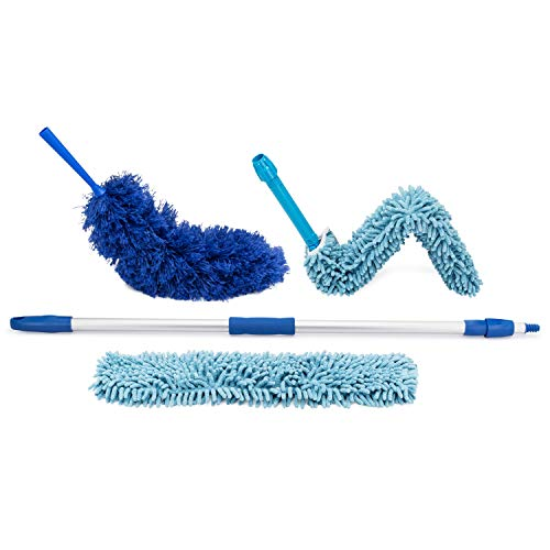 Extendable Duster - Microfiber Duster Kit: Ceiling, Fans, Baseboards, Cob Webs, Telescoping, Reusable & Washable, Feather & Chenille Dusters, 6ft. Adjustable Handle