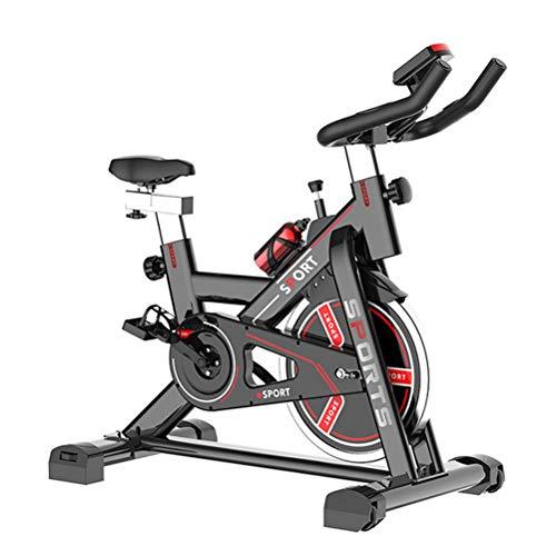 Bicicleta estacionaria de ciclismo de interior, correa de accionamiento, bicicleta estacionaria con soporte para iPad, pantalla LCD para el hogar, entrenamiento cardiovascular