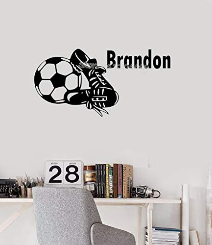 jiushivr Fußballschuhe Benutzerdefinierten Namen Wandaufkleber gut aussehend Fußballschuhe Aufkleber angepasst personalisierte Kinderzimmer Dekor Kunst Tapete 60 x 30 cm