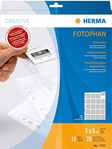 Herma 7701 - Funda para archivar diapositivas (10 hojas), transparente ⭐