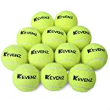 KEVENZ 12-Pack Green Advanced Training Tennis Balls,Practice Ball (Interlocked Wool Fiber)