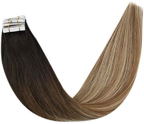 YoungSee 100% Remy Haarverlangerung Echthaar Tapes Balayage Echt Haar Tape Echthaar Extensions Dunkelstes Braun bis Mittelbraun mit Blond Ombre Tape on Hair Extensions 20 Stuck 50g 50 cm