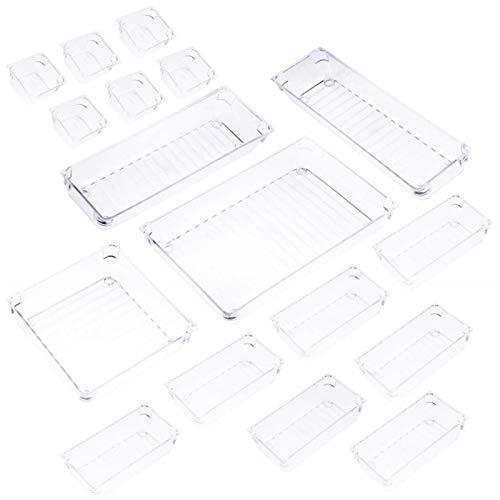 Groust Set mit 17 Schreibtischschubladen-Organizer-Tabletts mit 5-Größen-Aufbewahrungsboxen aus transparentem Kunststoff Teiler-Make-up-Organizer für das Büro im Küchenschlafzimmer (transparent)