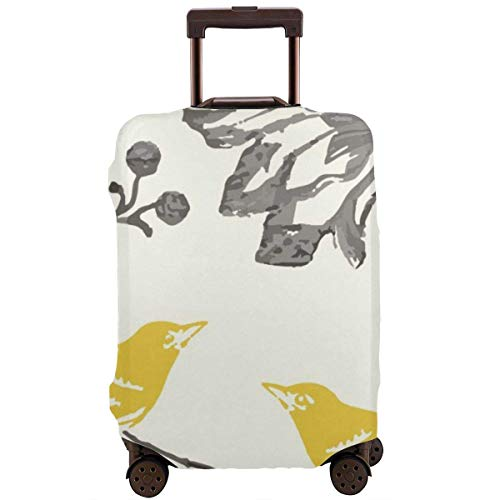 Travel Suitcase Protector Farmhouse Trendy Yellow Gray Vintage Floral Bird Modern Luggage Cover Protective Travel Elastic Suitcase Protector Fits 18-21 Inch Luggage