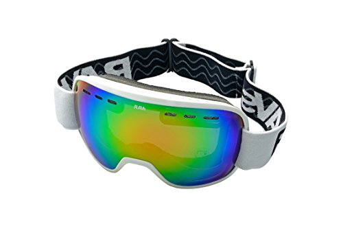 Ravs Unisex Skibrille Helmkompatibel Doppel Scheibe 100% UV-Schutz Wide Vision+ Lens