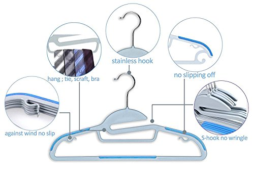 Mighty Hanger | 100 pcs Sturdy Slim Lightweight Clothes Hanger with Swivel Steel Hook, Non-slip S-shape Shoulders, Wrinkle-free, Space Saving, for All Kinds of Garments, Baby Blue Color | 1.017