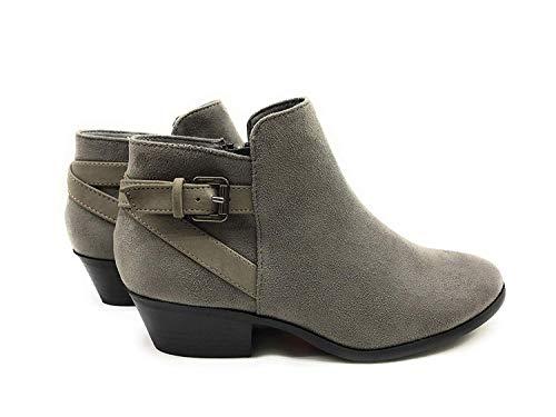 Soda Women's Round Toe Faux Suede Stacked Heel Western Ankle Bootie (8.5 B(M) US, Smoke Grey)
