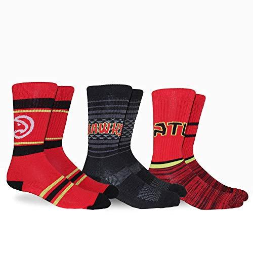 PKWY Hawks Team 3er-Pack NBA Crew Socken für Erwachsene, unisex M mehrfarbig