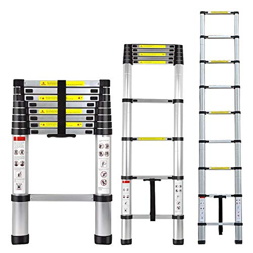 Folding Ladder Aluminum Telescopic Extension Ladders EN131 Standard with Spring Loaded Locking Mechanism(2.6M/8.5Ft)