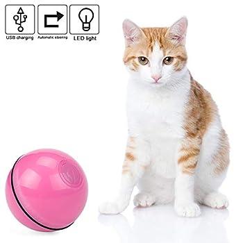 Vintoney Balle Lumineuse pour Chat Jouet Boule Rotative Automatique à 360 Degrés avec Lumière LED et Batterie Rechargeable USB Jouet Interactif Électrique pour Animaux Chats Chiots (Rose)
