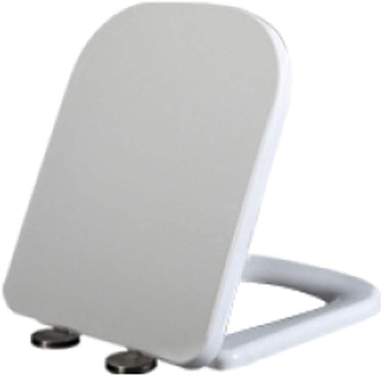 SUNYAN Universal V U O Type Square Toilet Seat Urea-formaldehyde Resin Board Slow Down Mute Thickening Cover White 12 Styles,G