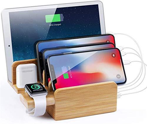 ZHICHUAN 6 en 1 Estación de Carga de Bambú Fit Múltiples Dispositivos 6 Port 40W Usb Desktop Charger Bamboo Wood Stand para Iphone 7/8 Plus carga rápida