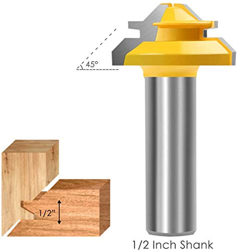 Lock Miter Router bit, KOWOOD 45 Degree 1/2 Inch Shank, Professional Wood Cutting Tools,for Commercial Users and Beginners
