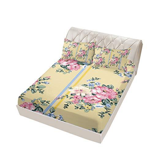ayigu 4 Piece Full Flower Fitted Sheet, Flat Sheet, 2 Pillowcases, Deep Pocket Mattress Floral Farmhouse Best Luxury Cool Soft Lightweight Microfiber Bedding Set