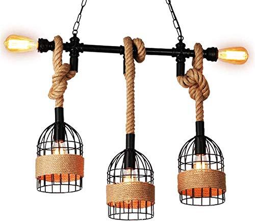 PXY Lámpara Colgante de Cuerda de Cáñamo Industrial de Alta Gama Y Buen Aspecto, Lámpara de Araña de Tubería de Agua Creativa E27 * 5 Luz de Techo de Hierro Retro para Restaurante, Cafetería, sin Fue