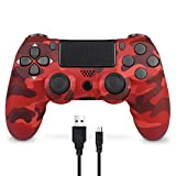 Mando Inalámbrico para PS4, Mando Inalámbrico Gamepad Doble Vibración Seis Ejes Mando Game Compatible con Playstation 4/PS4 Slim/PS4 Pro (Camuflaje rojo)