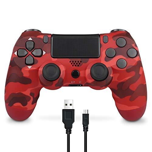 Mando Inalámbrico para PS4, Mando Inalámbrico Gamepad Doble Vibración Seis Ejes Mando Game Compatible con Playstation 4/PS4 Slim/PS4 Pro (Camuflaje rojo)