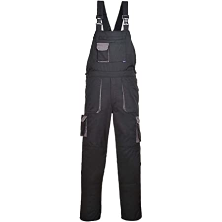 Portwest Texo Contrast Bib & Brace, Regular Length, Colour: Black, Size: XXXL, TX12BKRXXXL