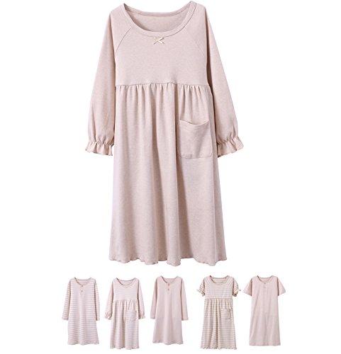 Abalacoco Girls Kids Cotton Nightgown Sleepwear Dress Soft Home Dress Summer Autumn Short Long Sleeve Soft Wear 4-12T (14-15 Years, 01#Solid)
