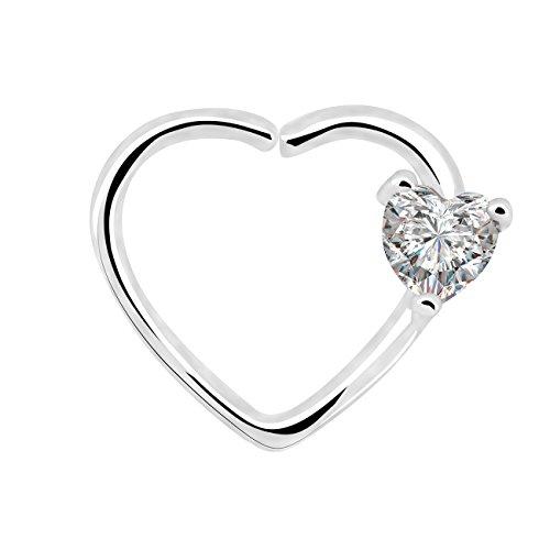 OUFER Body Piercing 18Kt Oro Blanco Plateado Claro en Forma de corazón CZ Cierre Izquierdo Daith Cartilage 16 Gauge corazón Tragus Pendientes Heart Earrings