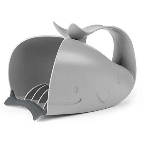 Skip Hop Moby Wal Rinser Becher, zum tränenfreien Haarewaschen, Shampooschutz, Wasserfall, Spülapparat, Spritzschutz, grau