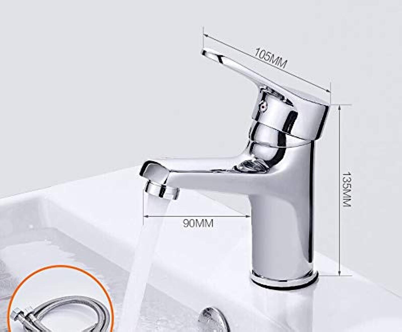 Zhcmy?Faucet Basin Faucet Hot And Cold Bathroom Copper Faucet Bathroom Wash Basin Single Hole Basin Mixing Valve Faucet