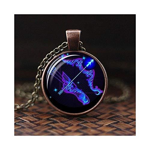 CHENGTAO 12 Signo del Zodiaco Constelación Diseño Collar Horóscopo Astrología Colgante for Las Mujeres de los Hombres de Cristal cabujón Accesorios (Metal Color : Pisces 1)
